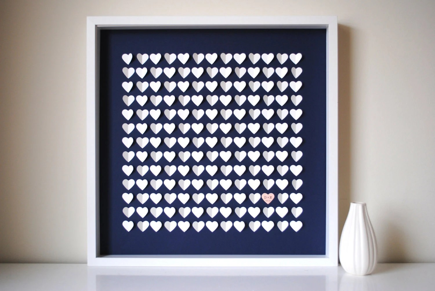 Wedding Guestbook Alternative Personalized 3D Wedding Hearts