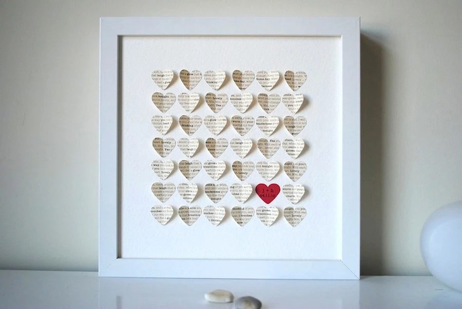 Wedding Gift Personalized Framed 3D Song Hearts Your Song
