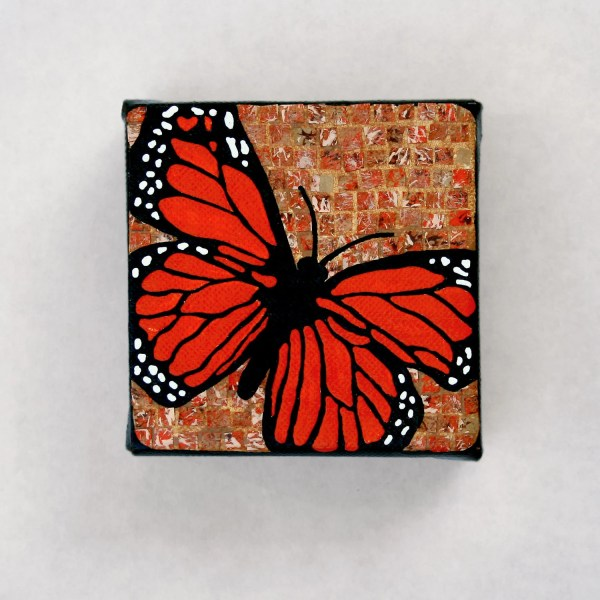 Monarch Butterfly Recycled Paper Mosaic Art Little
