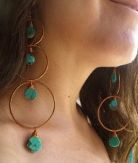 Extra Long Dangle Earrings Turquoise Hammered Copper