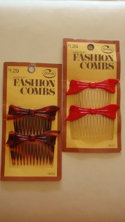 bow hair combs vintage 1980s