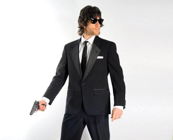 80s Mens Tuxedo 1980 Suit Black Tie Bill Blass Satin Lapel