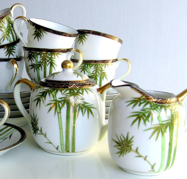 Japanese Tea Set White Porcelain Hand Painted Bamboo Pattern