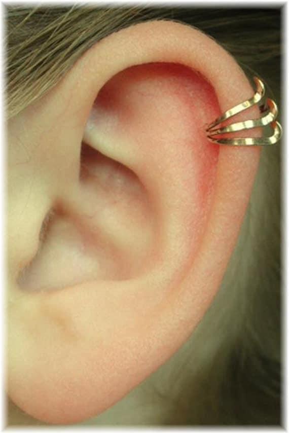 Pierced Ear Cuff Triple With Twist Gold Filled Or Sterling