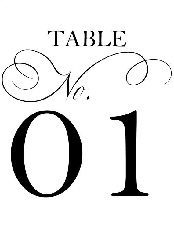 Custom Designed Wedding Reception Table Numbers 1-20 DIY