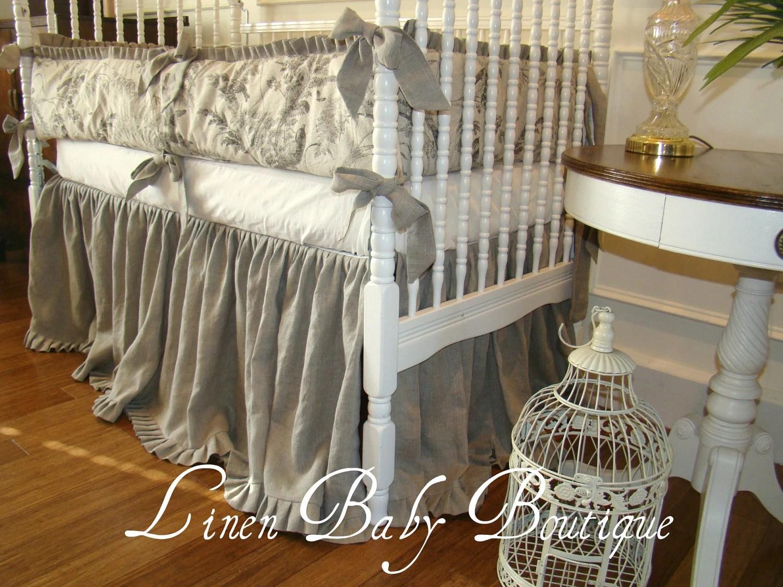 Baby Crib Bedding Crib Set Oatmeal Linen And Velvet 2 Piece