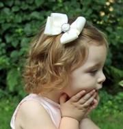 flower girl hair bow ivory