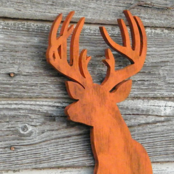 Wood Deer Head Decor