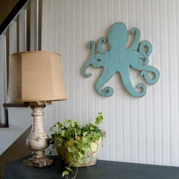 Octopus Wooden Sign Beach Coastal Wall Art Slippinsouthern