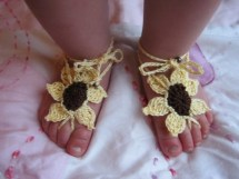 Barefoot Sandals Sunflower Newborn Adult