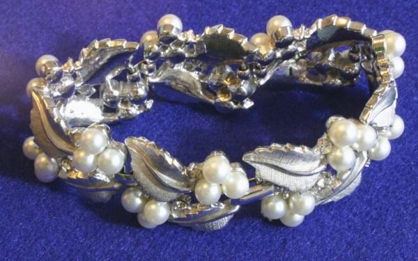 Vintage Trifari Silver And Pearl Bracelet