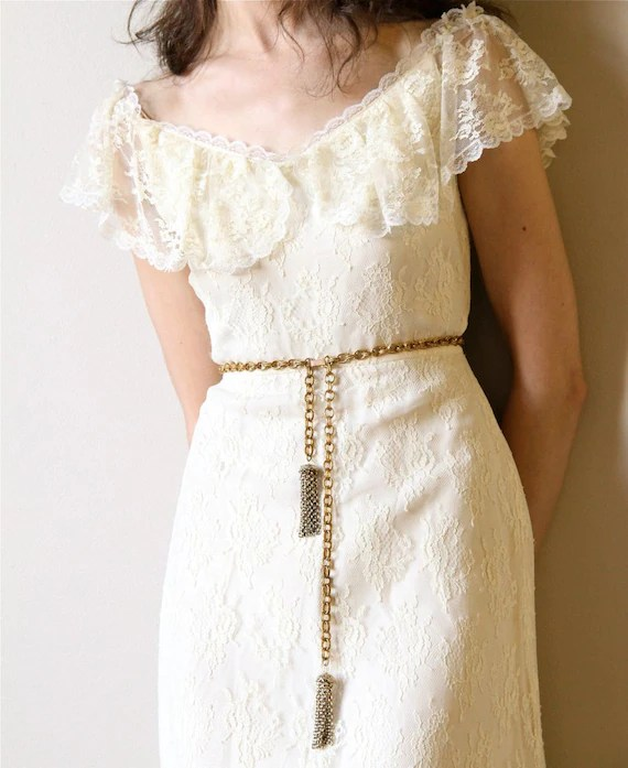 70s Boho Wedding Dress vintage off white ivory cream lace