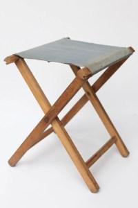 Wooden folding camp stool