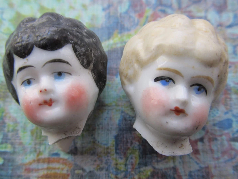 2 Vintage Small German Porcelain Doll Heads
