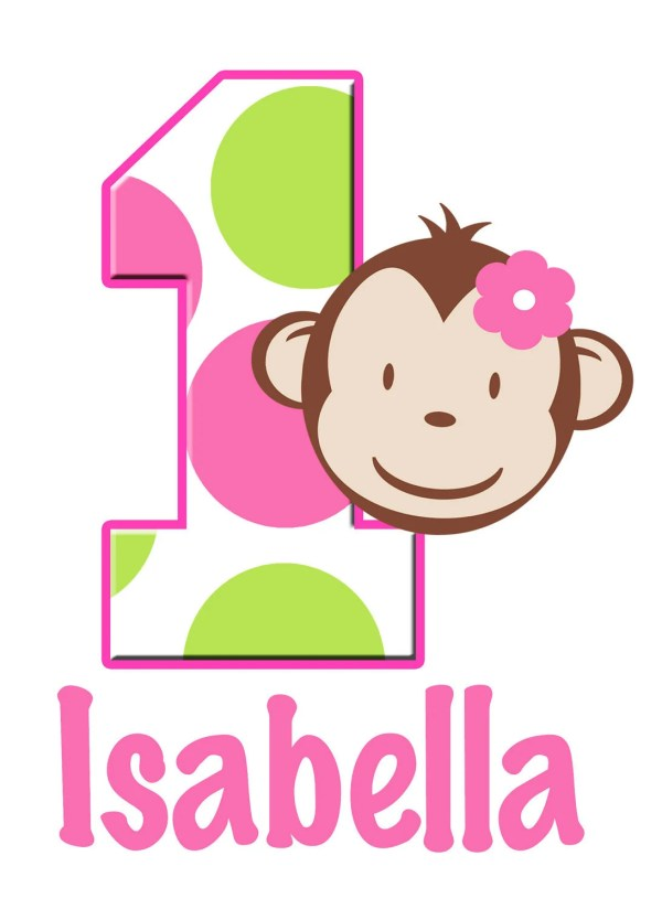 Personalized Custom Mod Monkey Number Age Birthday Party Girl