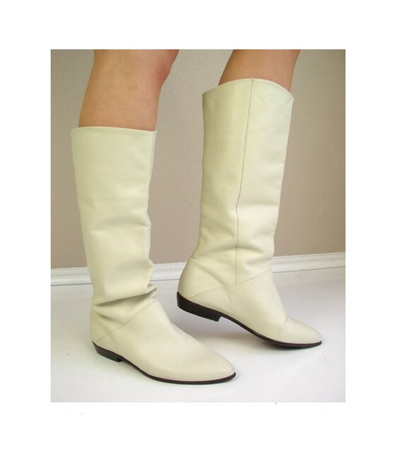 vtg 80s boots TALL Cream Leather CUFF slouchy FLAT riding