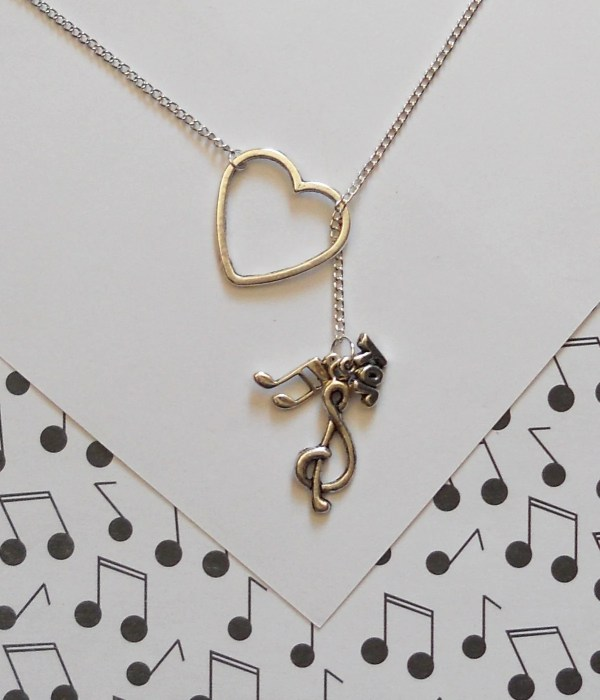 Music Necklace With Heart Clef Note And Joy Charm