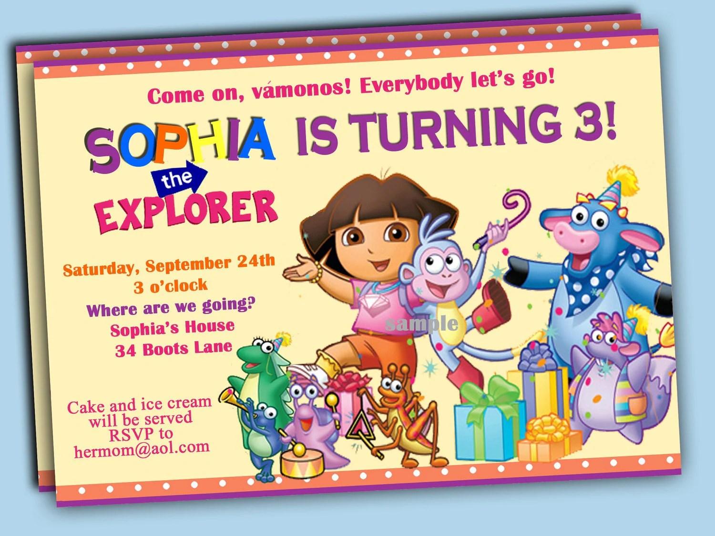 Dora The Explorer Fiesta Birthday Party Printable Invitation