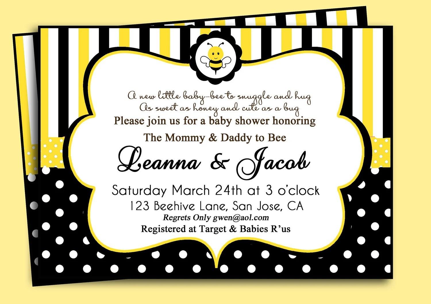 Bumble Bee Birthday Or Baby Shower Invitation By Thatpartychick