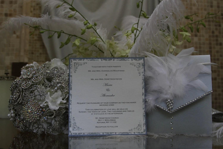 Feather Wedding Invitation Rhinestone Wedding Invitation