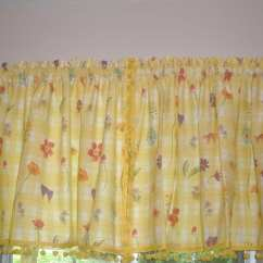 Yellow And Red Kitchen Curtains Composite Sink Vintage White With Flowers