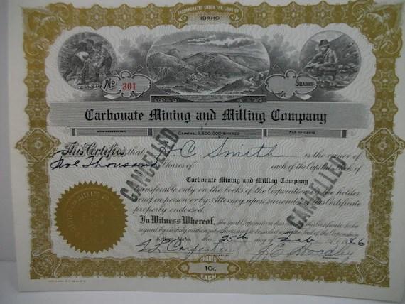 Historic 1946 Idaho mining certificate