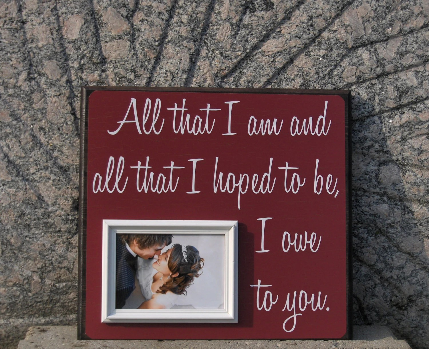 All That I Am, Custom Wedding Frame, Anniversary, Mother Father of the Bride, Wedding Song, Quote, thank you, parents