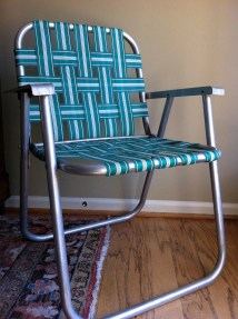 Vintage Folding Webbed Lawn Chair