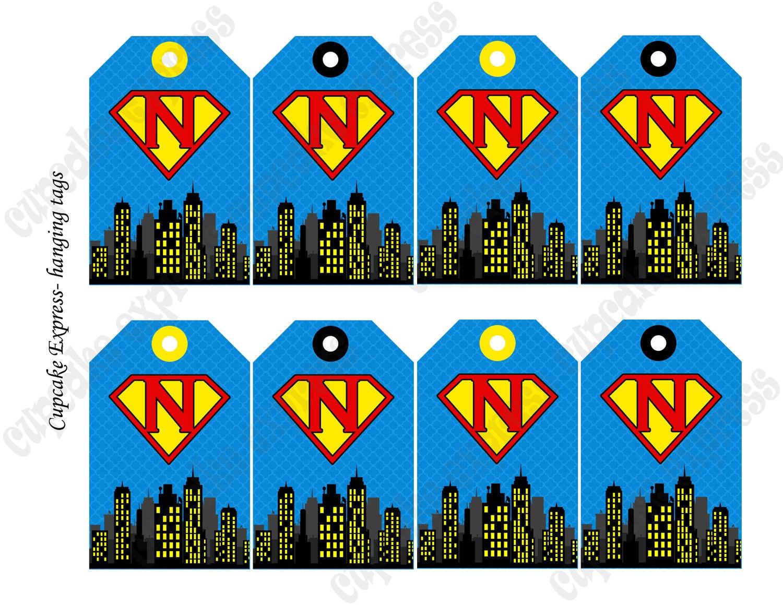 Diy Super Hero Birthday Printable Party Hanging Initial Tags