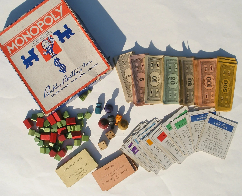 Monopoly Game Pieces Lot 1935 Pretend Money Deeds Wooden
