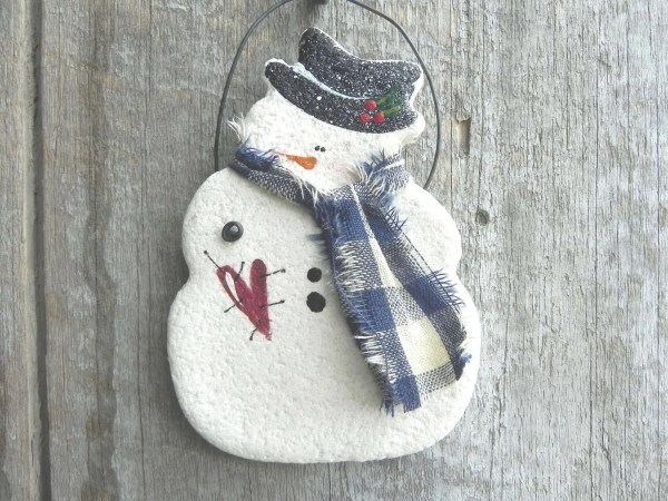 Xmas Salt-Dough Snowman Ornament