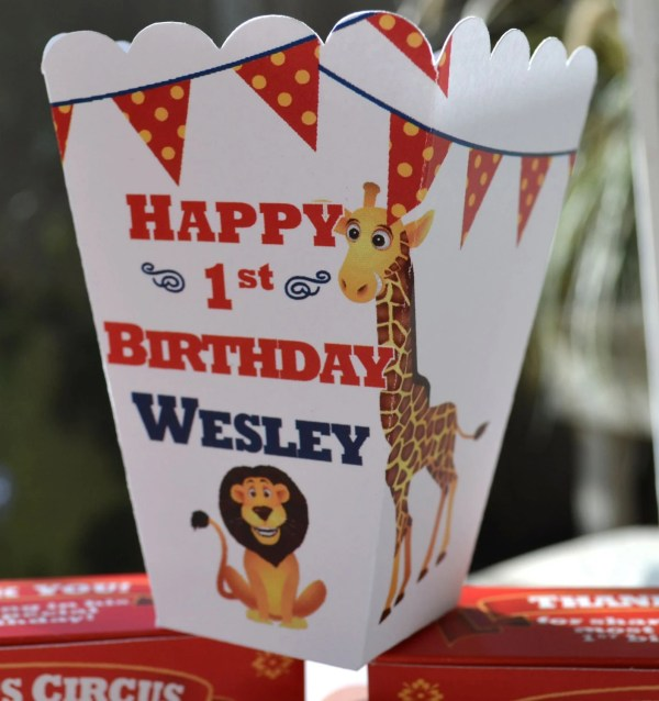 15 Personalized Circus Popcorn Boxes Kids 6elmdesign