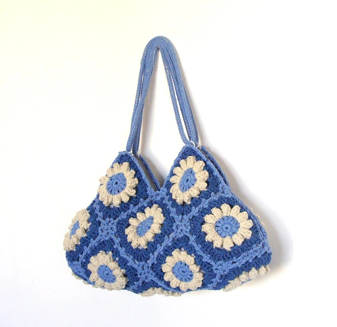 Wonderful crochet handbag in blue and cream flowers, crochet bag, shoulder bag, purse - zolayka