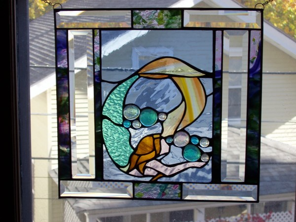 Mermaid. Unique Stained Glass Panel 15x15