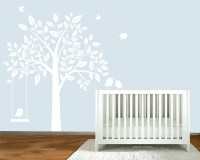Wall Decal White silhouette Tree nursery wall by ...