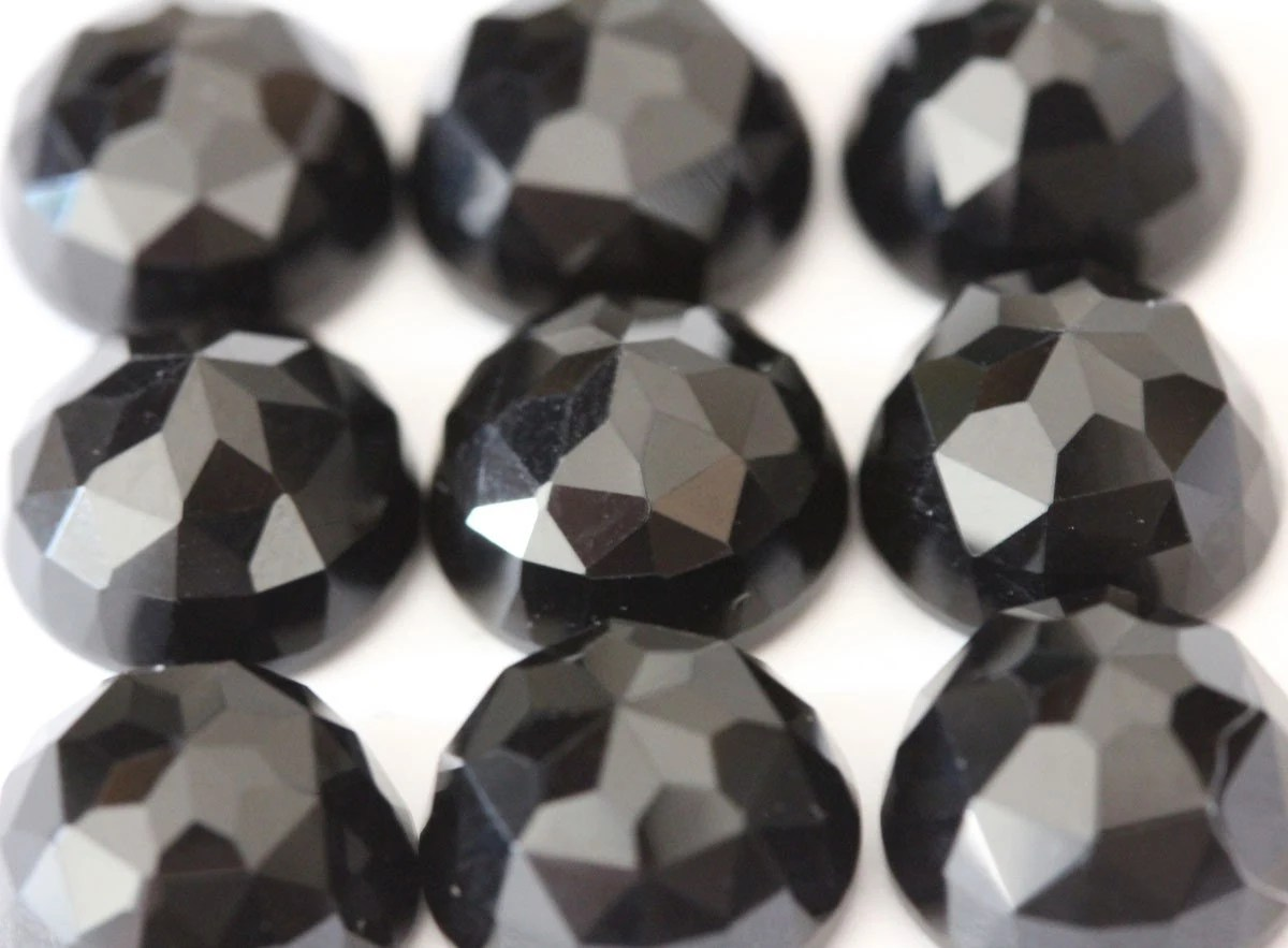 8mm Fancy Rose Cut Black Onyx  1 Cab from FindYourStone on Etsy Studio