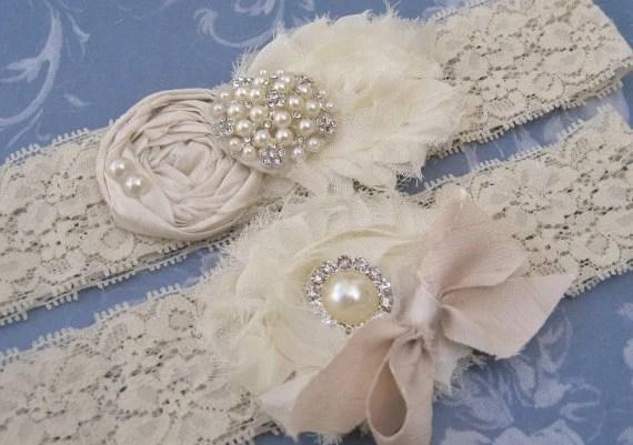 Wedding Garter  Vintage Bridal Garter Set Toss Garter