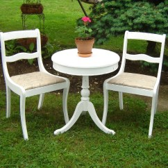 White Bistro Chairs Farmhouse Dining Room Vintage Shabby Chic Set 2 1 Round Table