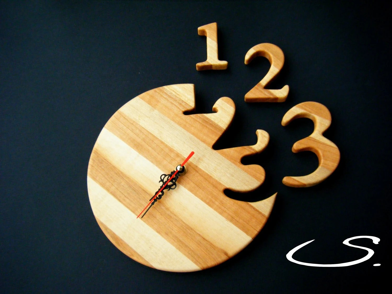 Wooden Modern Wall ClockHandmade Gift