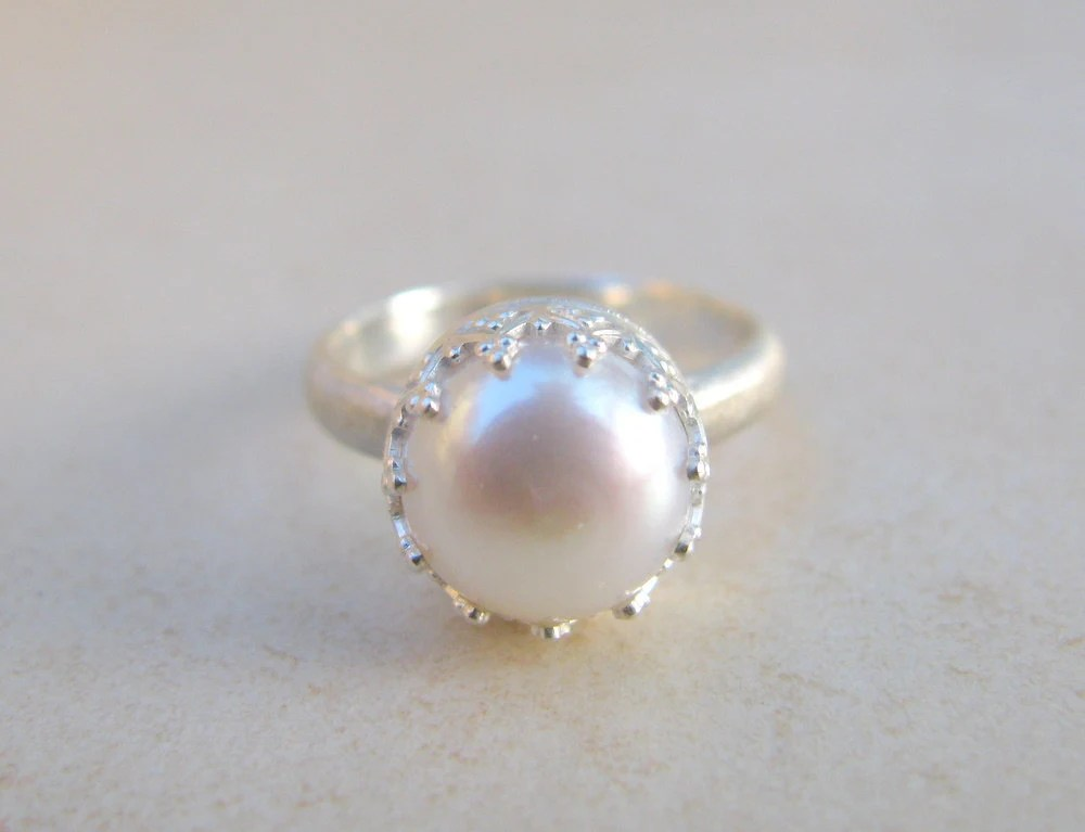Pearl ring engagement ring silver ring delicate by ArtIsApassion
