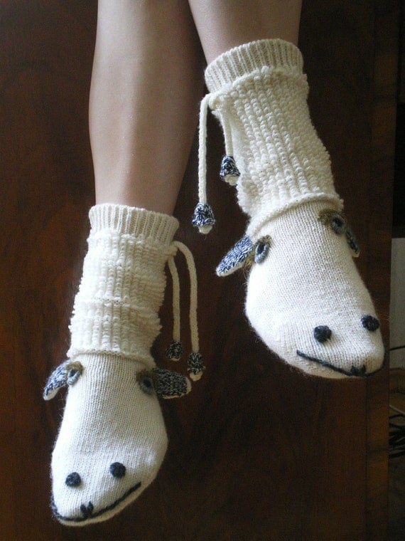 Funny Sheep Socks Decorated with Bells (made to order)