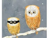 Illustration Print Halloween Owls - bellablackbird