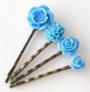 blue flower bobby pin hair accessories
