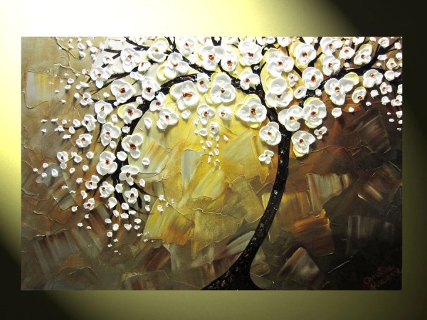 Original Abstract Tree Painting Textured Of Life