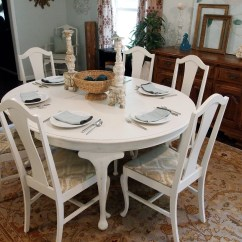 White Distressed Dining Chairs Industrial Metal Round Table With 6 Queen Anne