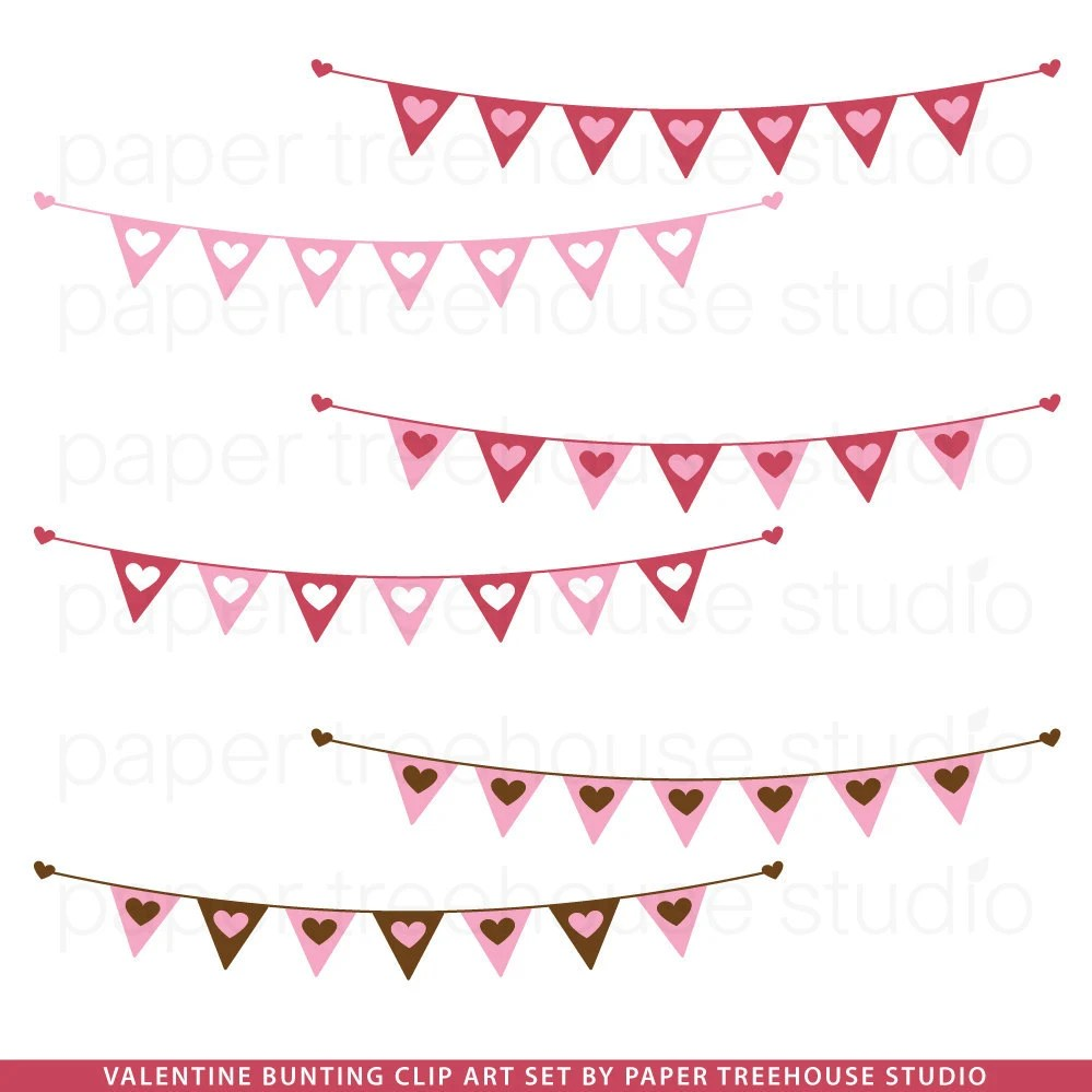 Clip Art Valentine Heart Banner Illustrations Pink Red And