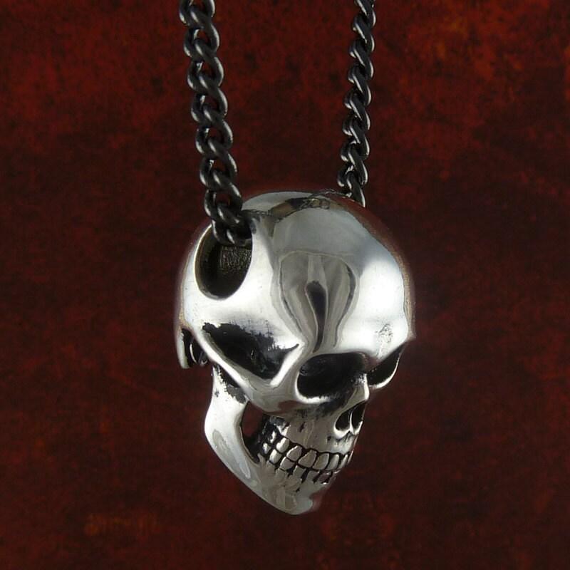 Skull Necklace Antique Silver Anatomical Human Skull Pendant
