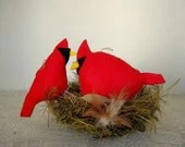 Cardinal Bird,  Hand Sewn, Stuffed Animal - PoofyDove