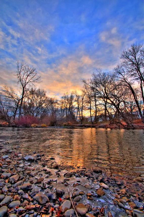 Winter Sunset on the Boise River 2 Boise Idaho