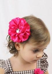pink flower hair bow large